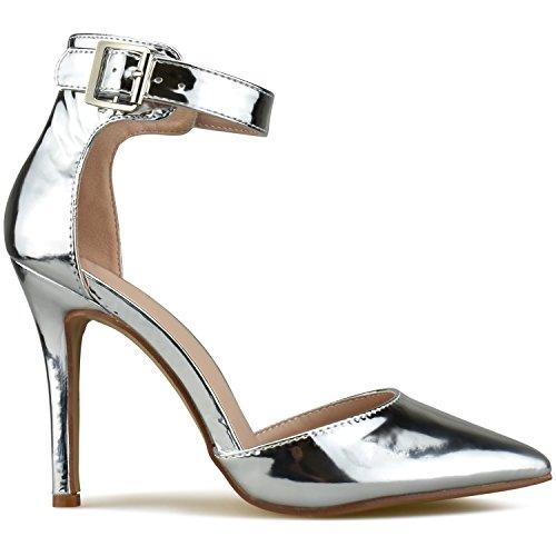 Stilettos Pointed Leather Heel Pumps Toe Sandals Silver Strappy Premier Standard Women's Studded High fCxwCF1q6
