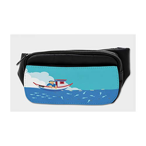 Ocean Shark Floral Sea Fish Sport Waist Pack Fanny Pack Adjustable For Run