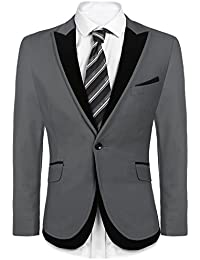 Men's Slim Fit One Button Suit Coat Casual Notched Lapel Solid Blazer