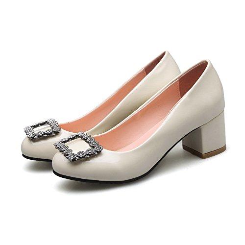 VogueZone009 Damen Rein Weiches Material Mittler Absatz Rund Zehe Ziehen  auf Pumps Schuhe Cremefarben ...