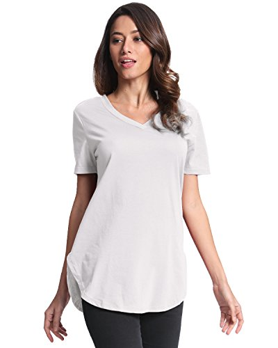 StyleDome Mujer Camiseta Algodón Blusa Mangas Cortas Playa Cuello Pico Casual Elegante Blanco