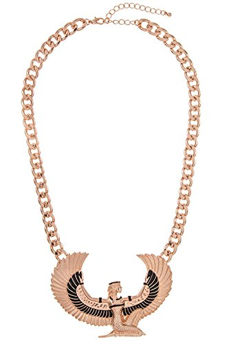 GlitZ Finery Egyptian Winged Woman Detailed Pendant Chain Necklace (Rose Gold)