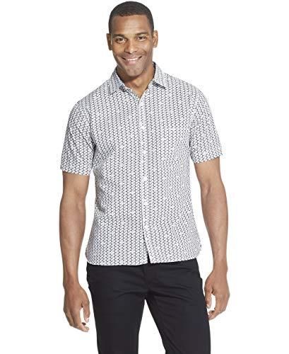 Van Heusen Men's Slim Fit Never Tuck Short Sleeve Button Down Shirt, Sea Navy, Large ()