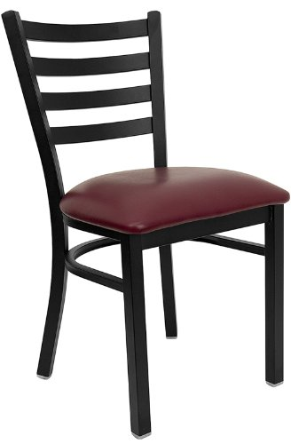 "Offex Black Ladder Back Metal Restaurant Chair with Burgundy Vinyl Seat - Metal Chair. Ladder Back Design. Burgundy Vinyl Upholstered Seat. 2.5"" Thick Foam Padded Seat Weight Capacity: 500 lbs. CA117 Fire Retardant Foam. Welded Joint Assembly. Curved Support Bar. 18 Gauge Steel Frame Black Powder Coated Frame Finish. Plastic Floor Glides. Designed for Commercial Use; Suitable for Home Use - kitchen-dining-room-furniture, kitchen-dining-room, kitchen-dining-room-chairs - 41Aq8b9oJoL -"