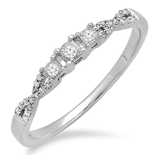 Dazzlingrock Collection 0.10 Carat (ctw) 10k Round Diamond Ladies Bridal Crossover Swirl 3 Stone Promise Engagement Ring 1/10 CT, White Gold, Size 9