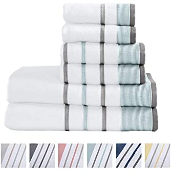 Great Bay Home 100% Turkish Cotton Striped Bath Towels, Luxury 6 Piece Set - 2 Bath Towels, 2 Hand Towels and 2 Washcloths. Highly Absorbent Quick-Dry Towels (6 Piece Set, Eucalyptus/Grey)
