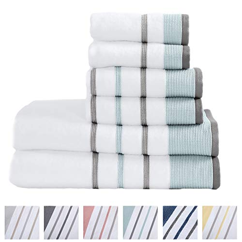 Great Bay Home 6-Piece 100% Turkish Cotton Striped Towel Set, Soft, Ultra-Absorbant. Includes 2 Bath Towels, 2 Hand Towels and 2 Washcloths. Noelle Collection Brand. (Eucalyptus/Grey) (Pottery Clearance Barn Bath Rugs)