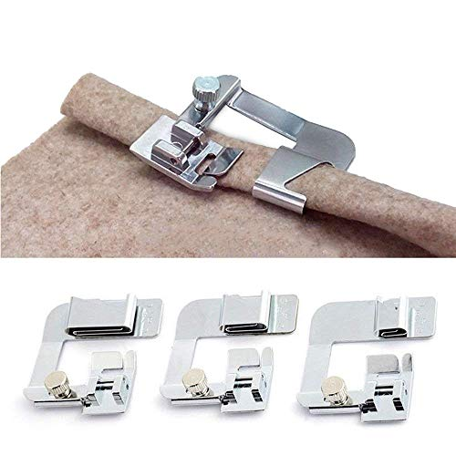 (ANYQOO 3 Sizes Rolled Hem Pressure Foot Sewing Machine Presser Foot Hemmer Foot Set (1/2 Inch, 3/4 Inch, 1 Inch) for Singer, Brother, Janome and Other Low Shank Adapter (Rolled Hem Presser Foot))