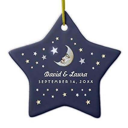 Christmas Ornaments Navy Blue Gold White Moon Stars Wedding Custom