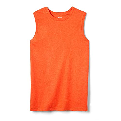 French Toast Boys' Little Sleeveless Muscle Tee, Tangerine Tango Heather, 5