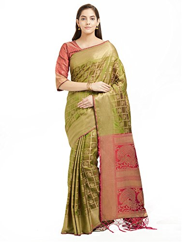 Viva N Diva Sarees for Women's Patola Art Silk Woven Saree with Un-Stiched Blouse Piece,Bollywood Sari (Olive - Art Silk Green Olive