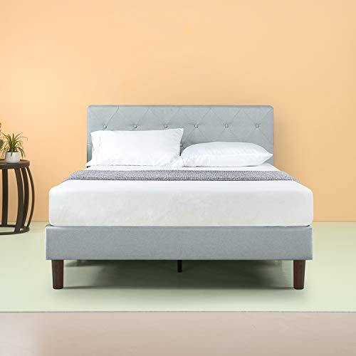 Zinus Shalini Upholstered Diamond Stitched Platform Bed / Mattress Foundation / Easy Assembly / Strong Wood Slat Support / Sage Grey, Queen