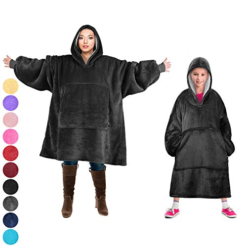 Tirrinia Blanket Sweatshirt, Super Soft Warm Comfortable Sherpa Hoodie with Giant Pocket, for Adults and College Students, Outdoor, Indoor,Reversible, Hood, Oversized, Black