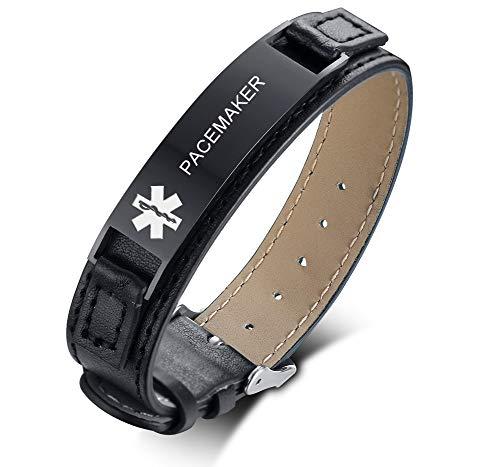 - VNOX PACEMAKER Black Stainless Steel Meidcal Alert ID Genuine Leather Adjustable Bracelet for Unisex