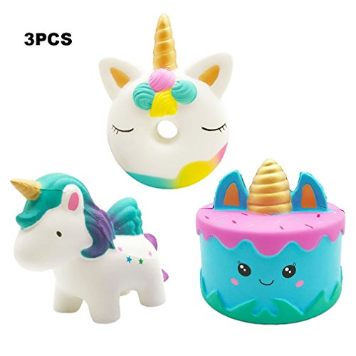 Yonishy Kawaii 3 Packs Jumbo Squishies Narwhale Cake,Unicorn Donut,Star Galaxy Unicorn Horse Set Cream Scented Slow Rise Squeeze Soft Toy for Stress Relief Gift Decorative Props ()
