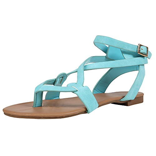 Womens Flat Thong Strappy Gladiator Clip Toe Cross Ankle Strap Roman Sandals