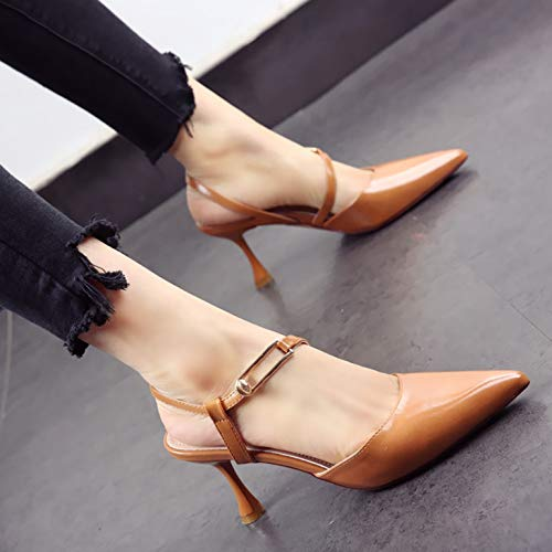 sandals high back Women's new wedding shoes YMFIE shoes patent C leather summer heel cat stiletto pointed gPz7dq
