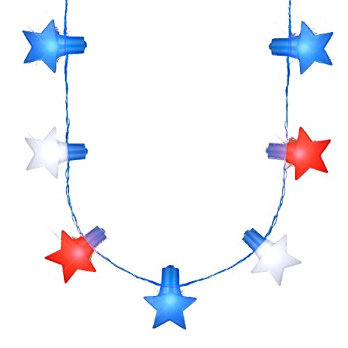 blinkee Jumbo Stars Red White and Blue LED String Lights Necklace for 4th of July]()