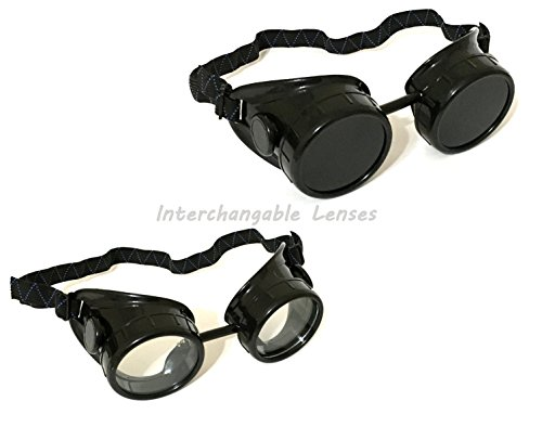 2 ALAZCO Black Welding Oxy-Acetylene Goggles Steampunk - 50mm Eye Cup #5 Lens - Welding, Torching, Soldering, Brazing… 4