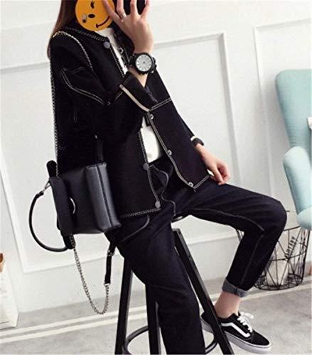 Elegante Di Manica Outwear Giacca A Breasted Moda Cardigan Baggy Single Casual Cappotto Confortevole Lunga Schwarz Abbigliamento Donna Maglia Autunno SaFKZqE