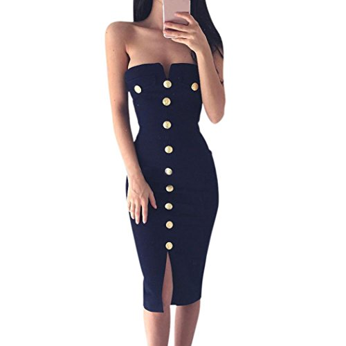 Respctful Sexy Off Shoulder Bodycon Pencil Button Party Dress For Women (Navy, M) from Respctful