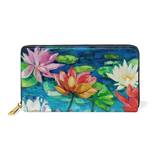 And Around Floral Wallet Womens Paiting Water Lily Purses TIZORAX Zip Organizer Clutch Handbags Ow8qxFP