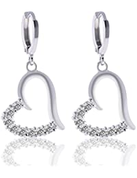 White Gold Plated Heart Pave Dangle Earrings with Austrian Crystal - Elegant Fashion Jewelry for Women