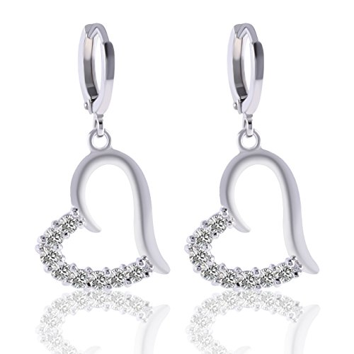Crystal Studded Heart Earrings - Yves Renaud White Gold Plated Heart Pave Dangle Earrings with Austrian Crystal - Elegant Fashion Jewelry for Women