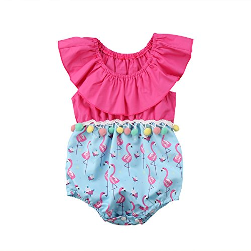 (Infant Baby Girl Ruffle Sleeve Romper with Pompom Summer Flamingo Outfit (Hot Pink+Blue, 0-6)