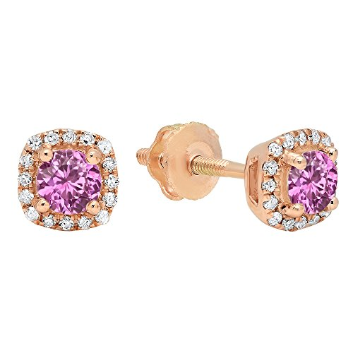 Dazzlingrock Collection 10K 5X3 MM Each Oval Gemstone Round Diamond Ladies Dangling Drop Earrings, Yellow Gold