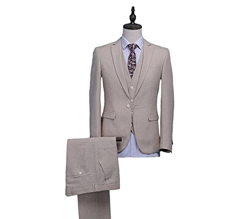 Botong Beige Summer Beach Groomsmen Suits Wedding Suits 3 Pieces Men Suits Beige 38 chest / 32 waist by Botong