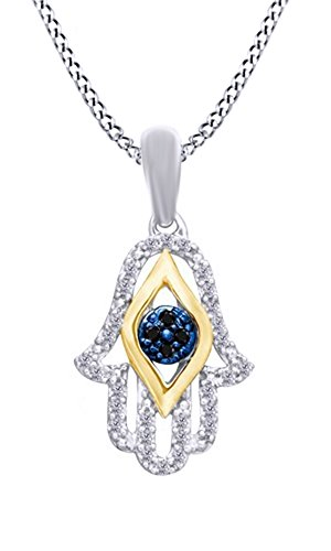 AFFY 1/10 Ct Black & White Natural Diamond Hamsa Pendant Necklace in 14k White Gold Over Sterling Silver ()
