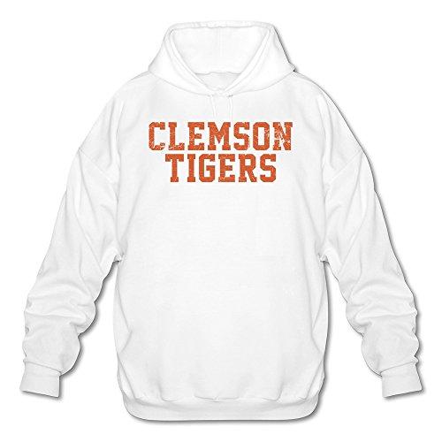 Clemson Tigers Sunshade (Tjame Men's Carolina Clemson Tigers Variegated Letters Hoodies Sweatshirt White)