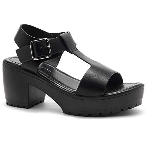 Herstyle Certain Women's Platform Sandal with Low Heel T-Strap Open Toe Flatform Wedge Ankle Strap Shoes Black 7.5