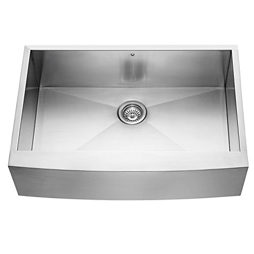 VIGO VG3320C 33 Inch Farmhouse Apron Front 16 Gauge Single Bowl Stainless Steel Kitchen Sink, Commercial Grade Sink with SoundAbsorb Technology