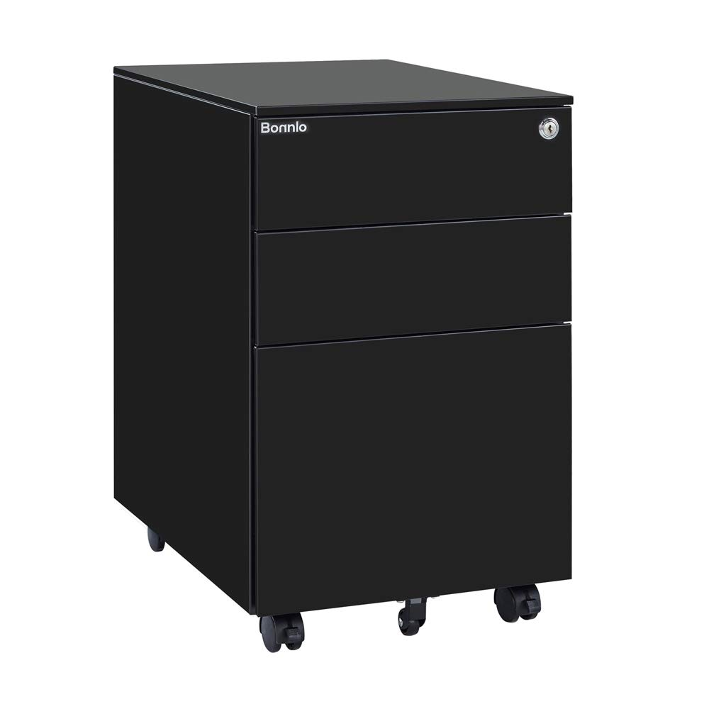 Bonnlo Mobile File Cabinet with Lock, 3 Smooth Gliding Drawers and Wheels for Home Office, Fully Assembled Except Casters, Black