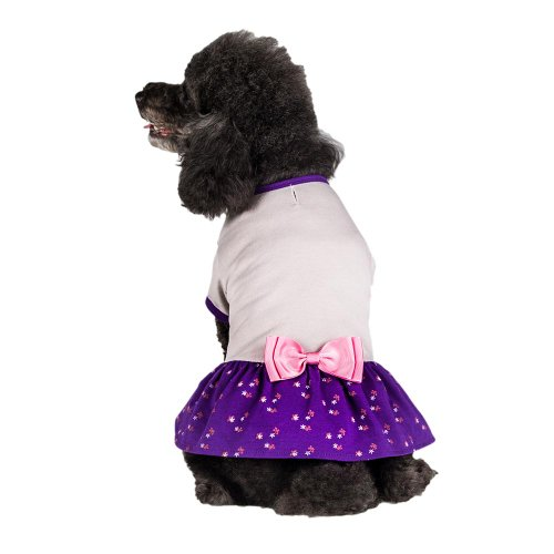 Image of Blueberry Pet Orchid & Grey Bow Cotton Dog Dress, Back Length 12
