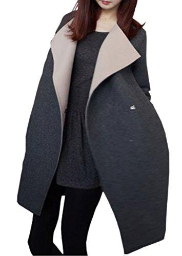 (キュアキュア)CURECUREレディースショート丈バイカラージャケットコート長袖厚手カジュアルコーディガン(XL)灰色
