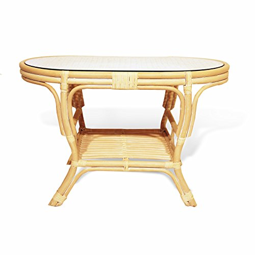 Pelangi Coffee Oval Table with Glass Top Natural Rattan Wicker ECO Handmade Design, Cream Review