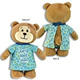 "GET WELL SOON Hospital Gown Bear ~ 11"" PLUSH~ Squeezable Huggable Cuddly~ Open Gown ~ Illness Hurt Sickness Hospital Animal ~"