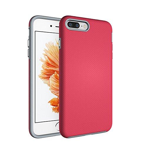 CarcasaiPhone 7 Plus / iPhone 8 Plus, LifeePro Funda de la Caja del Teléfono a Prueba de Golpes TPU + PC Armadura Combinada híbrida Caso de Alto Impacto Durable Phone Defender (Rosa Caliente) Rosa Caliente