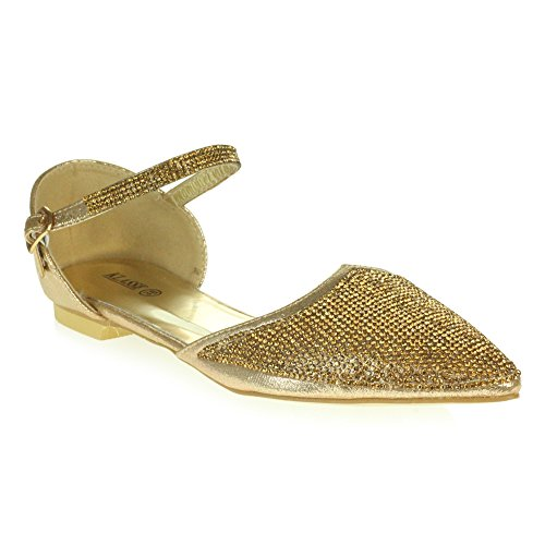 Shoes Party AARZ Bridal Pump Gold Women Prom Evening Size Sandal Bridesmaid LONDON Diamante Wedding Ladies Flat Sparkly 0wf6q10