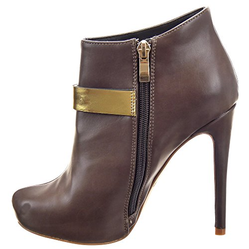 Sopily - damen Mode Schuhe Stiefeletten Low Boots Stiletto Low boots Schleife metallisch - Braun