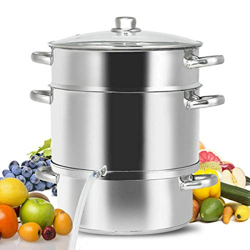 You&Meshop Fruit Juicer Steamer Stove Top w/Tempered Glass Lid 11-Quart Stainless Steel
