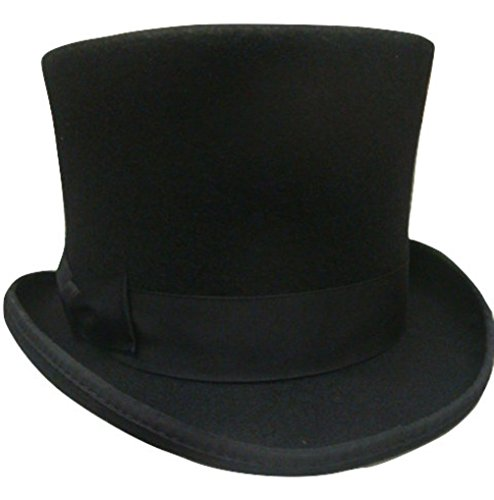 [Black Wool Victorian Top Hat Flared Theatrical Dickens Costume 60cm] (Steampunk Costumes Men)