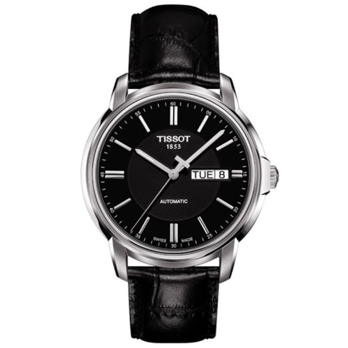 Tissot Men's Swiss Automatic Stainless Steel and Leather Casual Watch, Color:Black (Model: T0654301605100)
