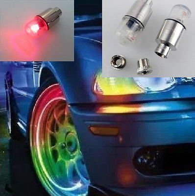 2 ~ Red Flashing LED Wheel Light Motorcycle Valve Cap for Harley Dyan Sportster Kawasaki Honda Yamaha Suzuki