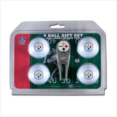 Wincraft NFL Pittsburgh Steelers WCRA01476 4 Ball Marker Gift Set with Divot Tool ()
