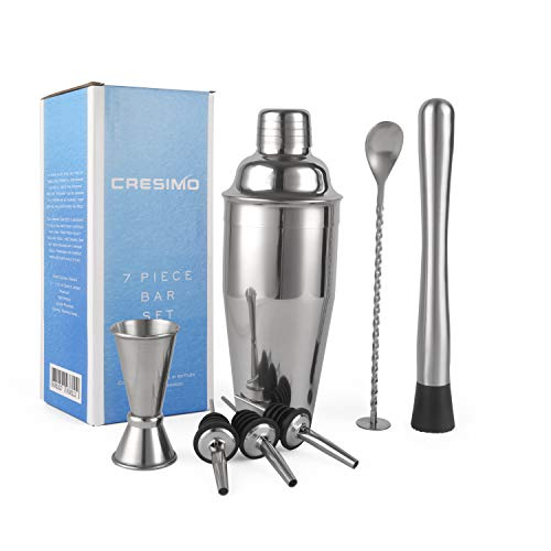 24 Ounce Cocktail Shaker Bar Set with Accessories - Martini Kit with Measuring Jigger, Mixing Spoon, Muddler and Liquor Pourers plus Drink Recipes Booklet - Professional Bartender Drink Making Tools from Cresimo