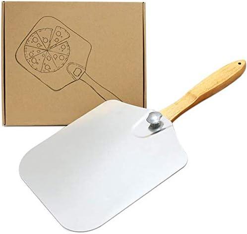 BFDMY Pizza Pala con Ampia Superficie - 30,5 Centimetri x 35,5 Centimetri, Alluminio Pala per la Pizza, Manico in Legno
